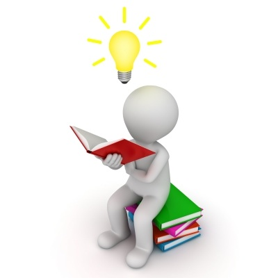 Figure Sitting And Reading Book With Idea Bulb Stock Image