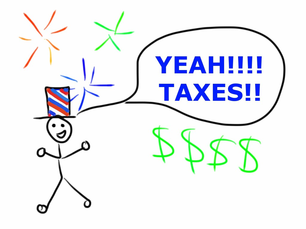 "Stick figure yelling ""Yeah, taxes!"""